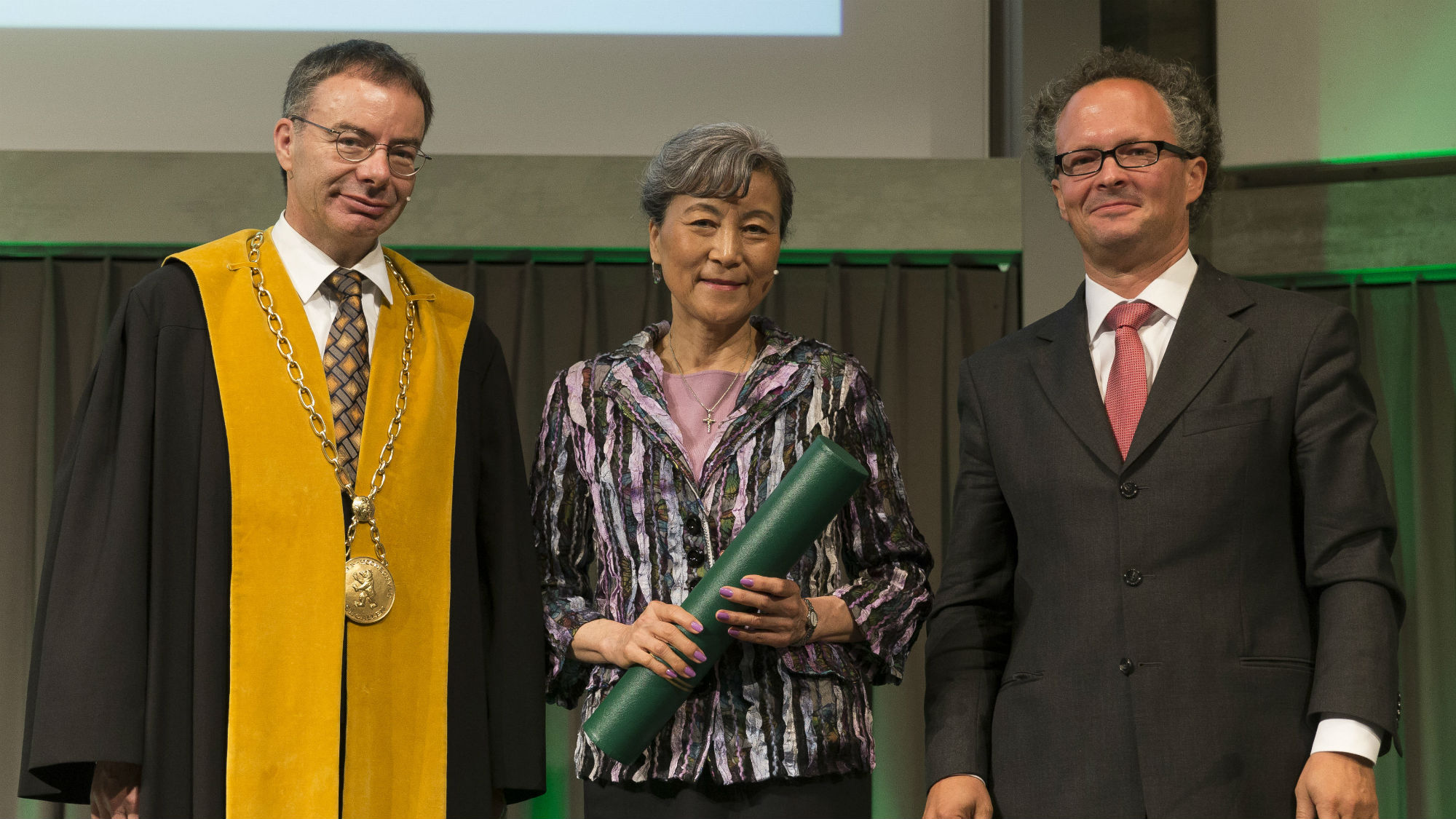Thomas Bieger, Anne Tsui und Peter Leibfried am Dies